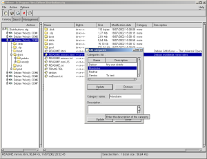 Categories is used to classe your disks or files by section.